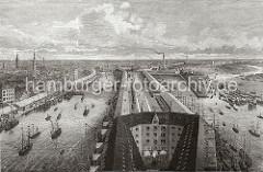 Blick vom Kaiserspeicher auf den Grasbrookhafen und den Sandtorhafen; das Hafenbecken des Sandtorhafens (lks.) wurde 1866 geschaffen.