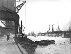 Historische Ansicht vom Baakenhafen in Hamburg; Portalkran und Frachtschiff mit Schuten - auf der gegenüberliegenden Seite der Petersenkai mit einem Dampfschiff.