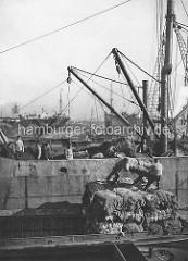 Alte Fotos aus dem Hamburger Hafen - Grevenhofer Ufer / Kuhwärder Hafen. Eine Ladung Baumwolle  wird von einem Dampffrachter auf eine Kastenschute verladen.