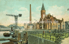 Historisches Motiv aus dem Hamburger Hafen - Kaiser-Wilhelm-Hafen; Insprektionshaus der Hamburg Amerika Linie am Reiherkai. Im Vordergrund die Durchfahrt zum Ellerholzhafen.