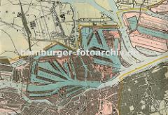 Karte des Hamburger Hafens ca. 1925; in der Bildmitte verläuft der Reihstieg von der Norderelbe zur Süderelbe, in der linken Bildmitte der Müggenburger Zollhafen mit den Auswandererhallen und ganz rechts der Waltershofer Hafen.