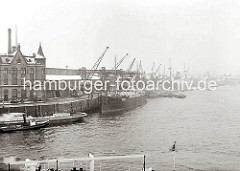 Der Versmannkai im Baakenhafen ist dicht mit Frachtschiffen belegt. Die Kräne arbeiten an der Beladung oder Löschung der Schiffe. Im Vordergrund liegt der kleine Schlepper HEDWIG unter Dampf längsseits eines mit leeren Fruchtkisten beladene Sch