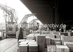 Kaibetrieb am Dalmannkai im Grasbrookhafen - Schienenkrane löschen die Ladung eines Frachters, eine Hieve Kisten wird gerade auf der Laderampe des Kaischuppen 15 abgestellt. Die Lagerfläche ist mit Kisten, Kartons und Säcken vollgestellt.