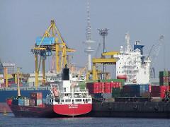 Blick vom Ellerholzhafen zu den Krananlagen des Kaiser-Wilhem-Hafens im Hamburger Hafen - im Hintergrund der Heinrich-Hertz-Turm / Telemichel. (2002)