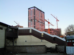 Fotos aus dem Hamburger Stadtteil   St. Georg, Bezirk Hamburg Mitte; Haltestelle Berliner Tor / Baustelle Hochhäuser Beim Strohhause.  (2002)