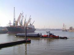 sthamerkai_0 Blick von der Ellerholzschleuse in den Ellerholzhafen; ein Schubverband fährt in den Travehafen ein - ein Frachtschiff liegt unter Ladekränen am Buss-Terminal beim Oderhafen in Hamburg Steinwerder.  (2002)