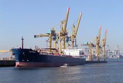 Hafenkräne am Kronprinzenkai im Kaiser-Wilhelm-Hafen, Hafenbecken im Hamburger Hafen (2002)
