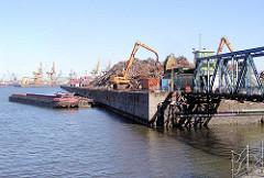 Rosskai im Rosshafen, Hafenbecken im Hamburger Hafen - rechts die ehem. Durchfahrt zum Travehafen.