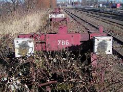 Alter Prellbock, Bahngleise der Hafenbahn am Roßdamm (2002)