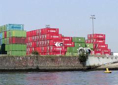 Containerlager am Sthamer Kai vom Oderhafen in Hamburg Steinwerder / Buss Hanse Terminal; re. ein Ausschnitt einer Verladerampe für RoRo Schiffe.  (2002)