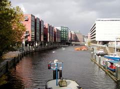 Fotos aus dem Hamburger Stadtteil Neustadt, Bezirk Hamburg Mitte;Blick von der Schaartorschleuse auf das Alsterfleet (2002)