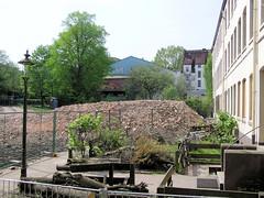 Alte Ansicht von den Terrassenhäusern in der Talstraße 67 in Hamburg St. Pauli - die Gebäude wurden 2004 abgerissen.