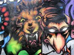 Bilder aus dem Hamburger Stadtteil St. Georg, Bezirk Mitte; Wandmalerei, Graffiti an einer Hausfassade..