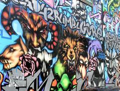Bilder aus dem Hamburger Stadtteil St. Georg, Bezirk Mitte; Wandmalerei, Graffiti an einer Hausfassade.