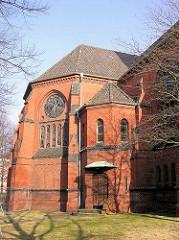 Absis der evangelischen Heiligen Geistkirche in Hamburg Barmbek - die Kirche wurde 1903 nach einem Entwurf von Hugo Groothoff im neugotischen Stil erbaut und 2004 geschlossen.