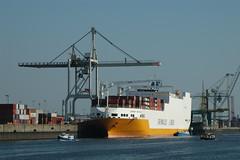 Fotos vom Hansahafen im  Hamburger Stadtteil Kleiner Grasbrook; RoRo Schiff Grande San Paolo am O'swaldkai.