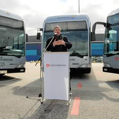 Inbetriebnahme einer Flotte Wasserstoff-Busse in der Hansestadt Hamburg, 2006; Rede Senator für Stadtentwicklung und Umwelt Michael Freiytag.