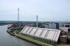 Köhlbrand bei Hamburg Waltershof / Altenwerder; im Vordergrund die Müllverwertungsanlage MVR Rugenberger Damm - im Hintergrund der Schüttguthafen Hansaport und das Container Terminal Altenwerder.
