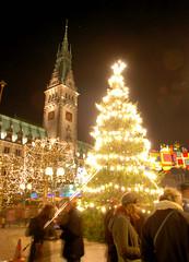 Lichtertanne und Weihnachtsmarkt auf dem Hamburger Rathausplatz.