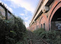 Alter Zollzaun / Freihafengrenze - Eisenbahnschienen der Hafenbahn - Eisenbahnviadukt; Bilder aus der Hamburger Hafencity.