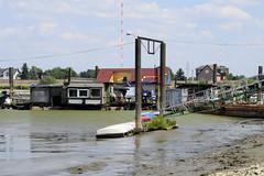 Fotos von der Billwerder Bucht, ursprünglicher Verlauf der Hamburger Norderelbe bis 1879; Bootsteg im Holzhafen bei Ebbe.