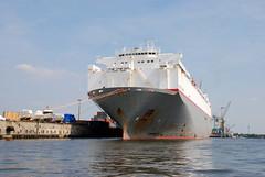 Fotos vom Hansahafen im  Hamburger Stadtteil Kleiner Grasbrook; Frachtschiff Pacific Spirit am Oswaldkai (2008).