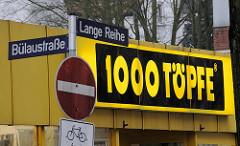 Schild 1000 Töpfe an der Langen Reihe in Hamburg St. Georg.