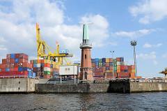 Containerlager am Kronprinzenkai vom Kaiser Wilhelm Hafen - Radaranlage am Ellerholzhöft - Fotos aus dem Hamburger Hafen.