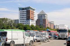 Gelände vom ehem. Huckepackbahnhof in Hamburg Rothenburgsort - die Fläche wird für den Gebrauchthandel genutzt.  (2009)