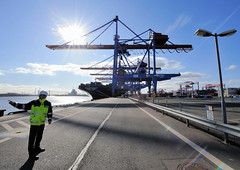 Fotos vom Hamburger Container Terminal Altenwerder. Ein HHLA Mitarbeiter gibt Sicherheitsanweisungen auf dem Ballinkai des Terminals Altenwerder. Beim Containerumschlag werden kaum Arbeitskräfte benötigt; er findet fast vollautomatisch statt.