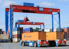 Fotos vom Hamburger Container Terminal Altenwerder; Bilder von beladenen AGV Automated Guided Vehicles Terminal Altenwerder CTA. Hafentechnik im Hamburger Hafen - zwei mit Containern beladene automatische Transportfahrzeuge stehen vor einem der 16 La