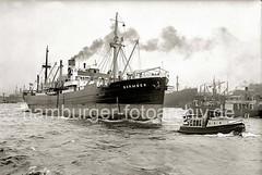 Stückgutfrachter BARMBEK, Barkasse auf der Elbe; ca. 1938.