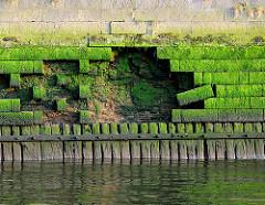 Alte verfallene  Kaimauer im Hamburger Hafen; der Sockel wird von Holzbalken gestützt. Verblendsteine sind aus der Fassade herausgebroche, die Ziegelmauer ist freigelegt.