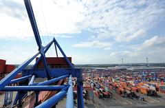 Fotos vom Hamburger Container Terminal Altenwerder; Containerlager HHLA Terminal Altenwerder. Auf dem Altenwerder Containerlager können in den 26 Lagerblöcken ca. 16 000 Container temporär gelagert werden.