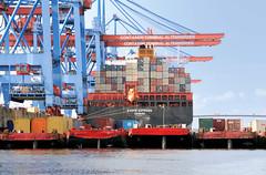 Fotos vom Hamburger Container Terminal Altenwerder; Schuten und Containerfrachter bei der Containerverladung am Terminal Altenwerder.