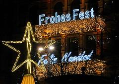 Beleuchteter Schriftzug - Frohes Fest - Weihnachtsmarkt am Hamburger Jungfernstieg.