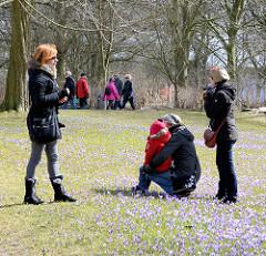 Touristen im Husumer Schlosspark stehen zwischen den blühenden Krokussen auf der Wiese.