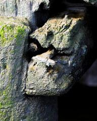 Details einer Kaimauer bei Ebbe im Hamburger Hafen; bei Niedrigwasser zeigen sich die Eichenstämme, die das Fundament der Kaianlage bilden.