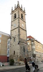 Turm der gotischen Johanniskirche in Erfurt - das Kirchenschiff wurde 1819 abgerissen.
