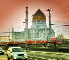 Ehem. Tabak- und Zigarettenfabrik Yenidze in Dresden - 1909 im Stil einer Moschee errichtet - jetzt Bürogebäude.