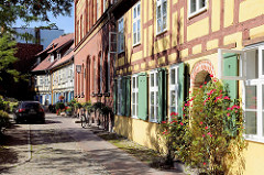 Historische Wohnhäuser; Rosensträucher vor einer Fachwerkfassade - grüne Fensterluken; Johanniskloster Stralsund.