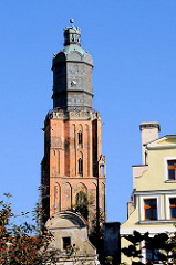 Die Spitze - Kuppel der St. Elisabethkirche in Breslau / Wroclaw - Backsteinturm.
