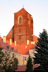 Kirchturm der gotischen Sandkirche, St. Maria auf dem Sande in Wroclaw, Breslau - Polen.