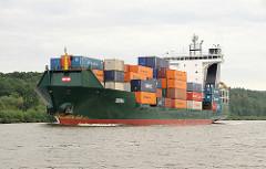 Containerfeeder IDUNA mit Containern beladen auf dem Nord Ostsee Kanal.