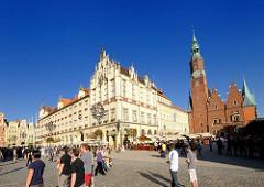 Bilder aus der Altstadt von Wroclaw, Breslau - Marktplatz und Rathausgebäude.