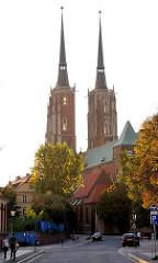 Der Breslauer Dom, die Kathedrale St. Johannes des Täufers (poln. Archikatedra św. Jana Chrzciciela), wurde in den Jahren von 1244 bis 1341 im Stil der Gotik errichtet. Seine Türme sind mit knapp 98 Metern die höchsten Kirchtürme der polnischen Wrocl