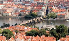 Luftaufnahme der Karlsbrücke über die Moldau - Bilder aus Prag.