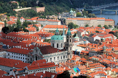 Blick auf die Dächer von Prag - im Bildzentrum die St. Nikolaus Kathedrale - die Barockkirche wurde ab 1625 errichtet.