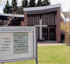 Kirchengebäude Freie ChristenGemeinde Kraftstrom in Uelzen -  Freikirchliche Pfingstgemeinde.