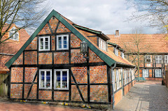 Historische Fachwerkgebäude in der Hansestadt Stade - Wohnhäuser des Johanniskloster.